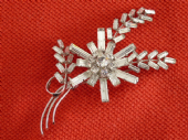 1950s Diamante Brooch - Abstract Effect Flower and Branch  (sold)